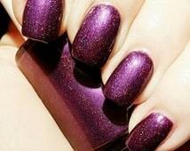 "Deep Dark Purple Violet Sparkle Spectraflair 5 free Nail Polish ""Vexed"""