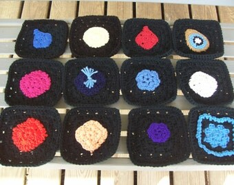Set of 12,Granny, Squares,Afghans,Lapghans,Supplies,Crafts,Bags,Clothes,Crochet,Black,Six by Six Inches,Decorations