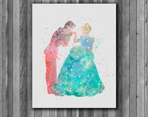 Cinderella and Prince Charming DISNEY - Art Print, instant download, Watercolor Print, poster
