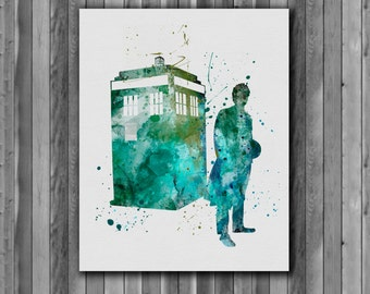 Tardis Doctor Who Poster -  watercolor, Art Print, instant download,  Watercolor Print, poster