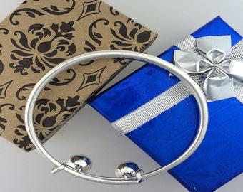 925 Sterling Silver Simple Sleek Bangle Bracelet Adjustable 7-8 inches