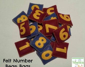 Felt Number Bean Bags