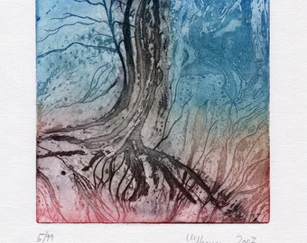 Fairy tale forest - nature original color etching - fine art print prints - limited edition - etching print