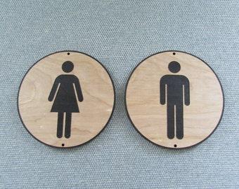 Round Ladies & Men Wood 6 inch Restroom Set Signs
