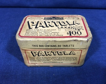Vintage Partola Laxative Tin Box 1930s Mint Flavored Laxative Tablets Empty Collectible Box