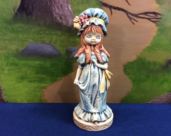 Vintage And Unique Ceramic Girl Figurine Blue Dress And Bonnet Made By An Individual In 1973