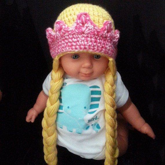Crochet Hair Hat : Crochet princess hat with braids and crown. Crochet beanie with braids ...