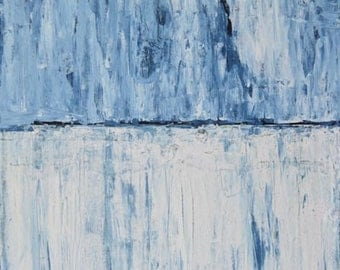 Digital Print. Blue & White Abstract Painting. Blue Landscape Print. Abstract Home Decor