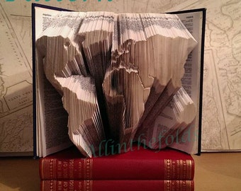 World map book folding pattern