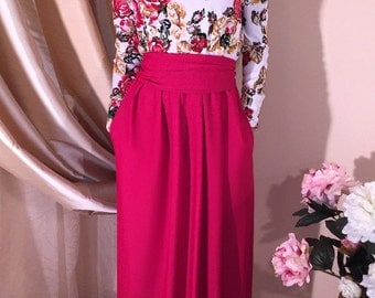 Floral Roses Maxi Dress Long Sleeves Red Green
