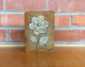 Gold Flower Thank You Card