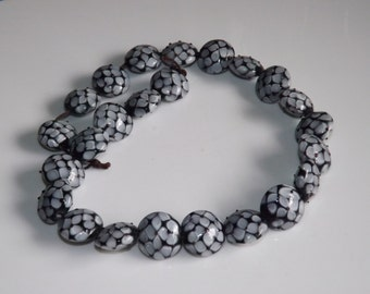 Gray & Black Textured Glass Lampwork Round Disc Beads