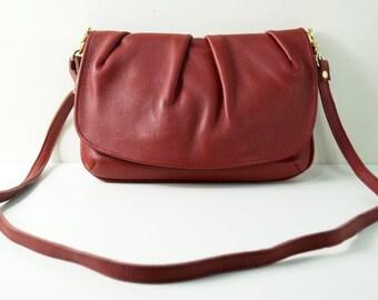 "Leather Handbag ""Amanda"" in red, leather purse, genuine leather, leather bag, handmade."
