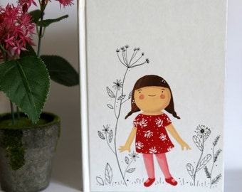 Illustrated Blank Notebook: Little girl and cat