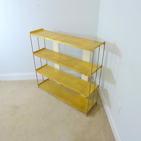 vintage gold metal shelf distressed paint bookcase. Black Bedroom Furniture Sets. Home Design Ideas