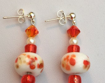 Hand Crafted White, Orange and Red Millefiori and Swarovski Earrings