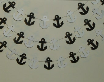 Nautical Anchors Garland, Baby Garland, Birthday, Party decoration, Black and White Anchors Garland, 2 inch Anchors