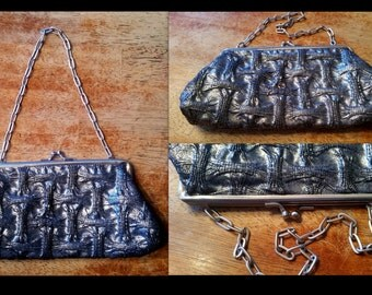 Silver Metallic Evening Purse Chain Strap Ruched