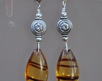 Beautiful Antique Silver and Brown Glass Tear Drop Earrings.