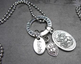 Patron Saint George Catholic Holy Medal Charm Necklace Catholic Gift, Catholic Jewelry