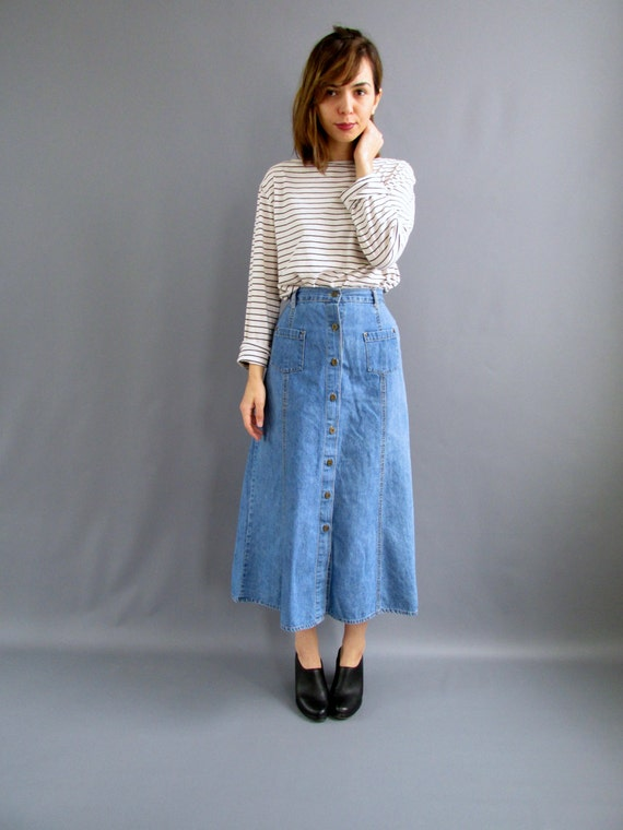1970s XS Long Button Front Denim Skirt 1970s A-line High