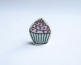 Purple Cupcake Brooch