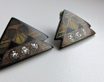 Vintage Triangle Pyramid Clip Earrings