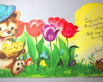Happy Easter Vintage Greeting Card Bear Baby Chicks