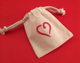 Heart Gift Bag/ Heart Favor Bag Red, Gold or Silver: Reusable Heart Drawstring Valentines Heart Favor Bags, Red Heart Gift Bag
