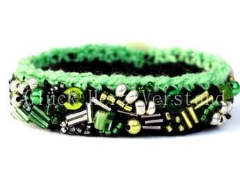 """Crochet bracelet, crocheted bracelet, woollen jewelry, bangle """"Party after Eight"""""""
