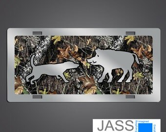 Camouflage  License Plates- Wild Hog Hunting for  trucks, cars, & SUV's. Camo  License Plates and car tags.