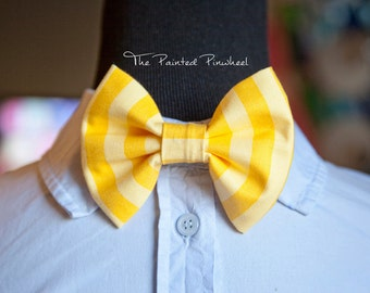 Yellow and Gold Stripe Patterned Bow, Bow Tie, Pocket Square