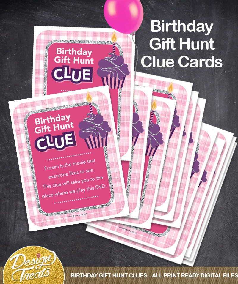 Birthday Gift Hunt Clue Cards 12 CLUES Instant Download