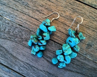 Cluster Turquoise Drop .925 Sterling Silver Dangle Earrings