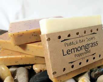 Lemongrass Soap - Poppyseed Soap - Essential Oil Soap - Natural Soap - Handmade Soap - Cold Process Soap - Exfoliating Soap