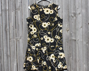 Vintage 60s 70s Floral Psychedelic Mod Scooter Dress