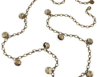 Prism Necklace, Long Necklace, Aqua, Crystal, Layered Necklace, Station Necklace, Long and Layered, Crystal Necklace, Charm Necklace N1312