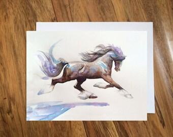 Greeting Card, Art Blank Card, Happy Birthday Card, Any Occasion Blank Greeting Card,Horse Card