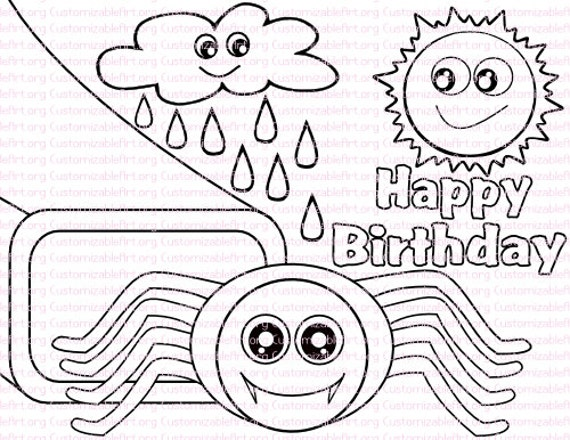 Itsy Bitsy Spider Birthday Party Favor Nursery Rhyme Coloring