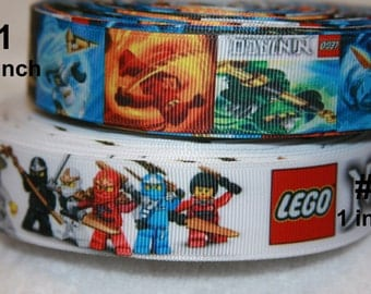 Lego NINJAGO inspired grosgrain ribbon-your choice   R158