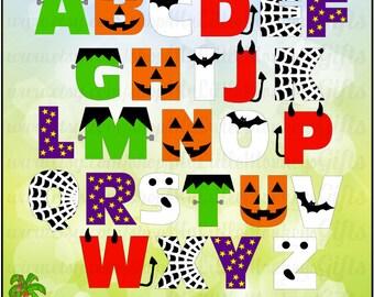 Halloween Alphabet for Boys Digital File Instant Download
