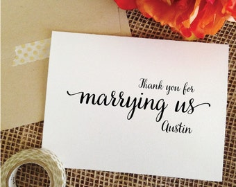 Wedding Officiant Card THANK YOU for marrying us card Wedding Officiant Gift To officiant Gift For Officiant (Lovely)