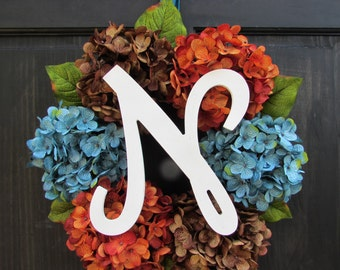 Initial Wreath, Personalized Gift for Newlyweds, Monogram Wreath, Front Porch Decor, Front Door Decoration, Hydrangea Wreath with Monogram