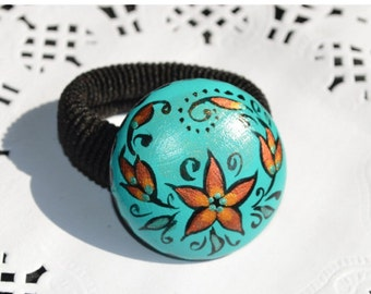Turquoise Scrunchy Hair Jewelery Wood Jewelry Folk Art Hand Painted Scrunchy Handmade holiday jewelry Gift Idea|for|her Hergirlfriend gift