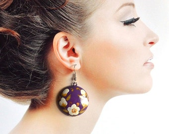 gift|for|women handmade jewelry Purple|and|white flowers Dangle Earrings purple wedding Boho Chic Earring Purple Drop Earrings boho earrings