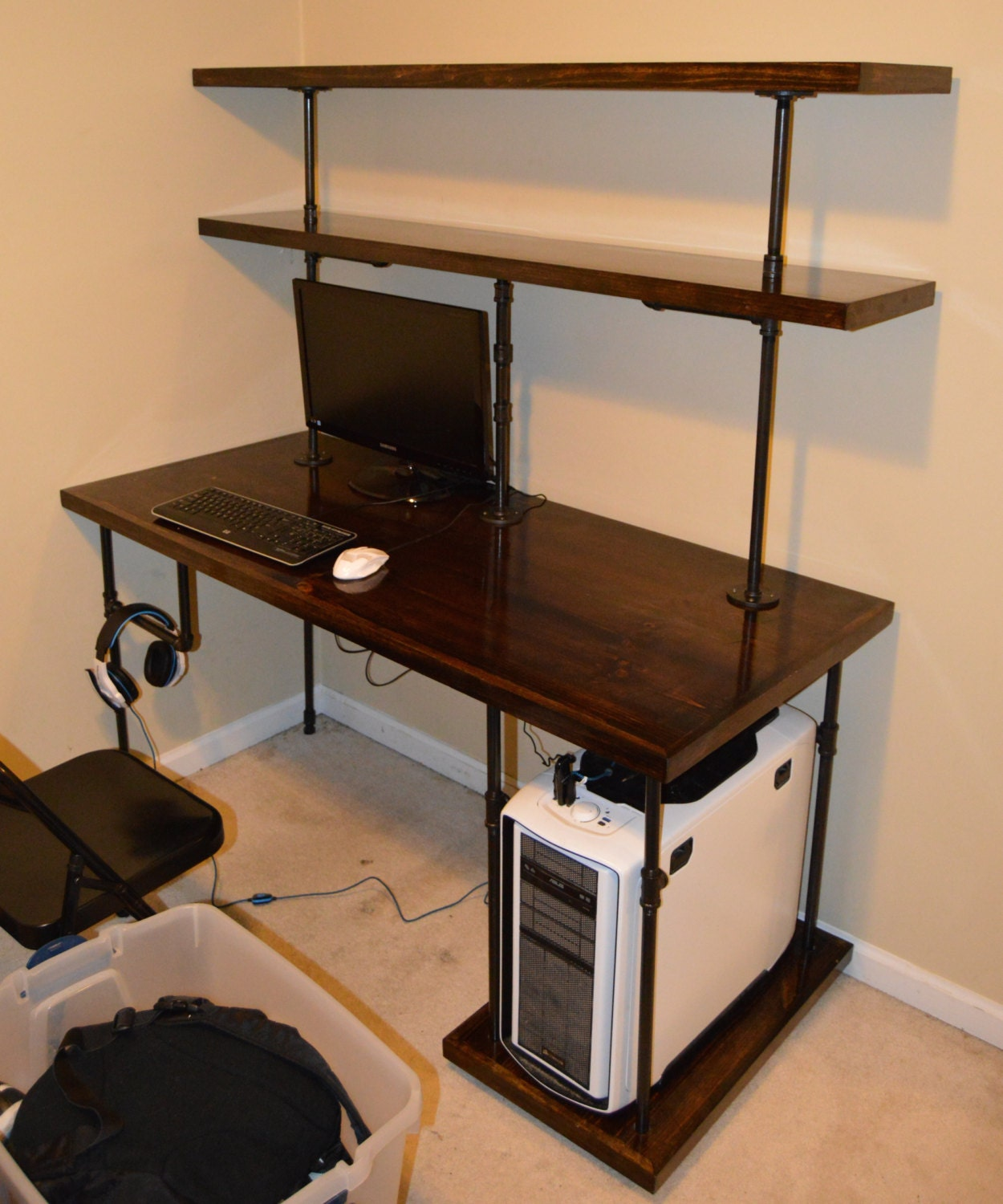 Upcycled Computer Desk Computer Desk Shelves. Full resolution  photograph, nominally Width 1250 Height 1500 pixels, photograph with #9C662F.