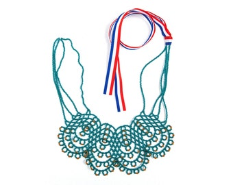 """Silver-Lined Teal glass beads handmade statement necklace from Croatia - """"KRISTINA""""!!!"""