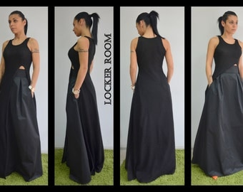 Black long skirt / Long skirt maxi / Woman high wasted skirt / Black maxi long skirt