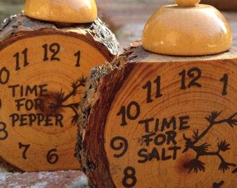 Log Alarm Clock Salt and Pepper Shakers Rustic Wooden Pine Kitsch Souvenir