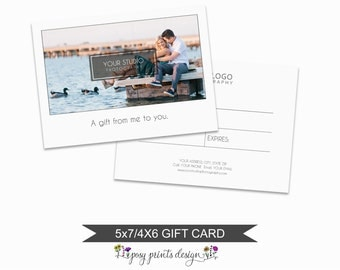 Photographer Gift Certificate - Template for Photographers - Digital Photoshop Template - 5x7 AND 4x6 Photography Design - PGC04